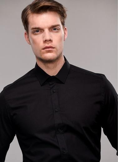 People By Fabrika Likralı Gömlek Siyah
